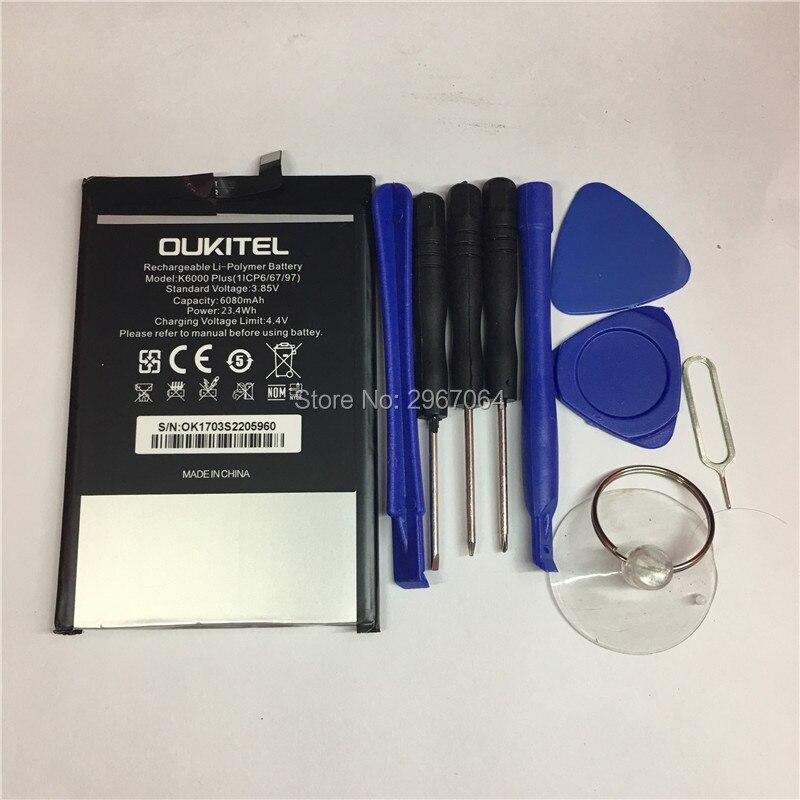 Mobile téléphone batterie OUKITEL K6000 plus la batterie 6080 mAh batterie D'origine Haute capacit OUKITEL téléphone batterie + Démonter outil