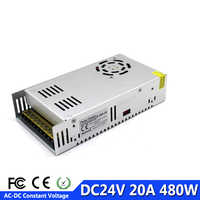 調整可能な電源 24 ボルト 20A 480 ワットトランス 220 ボルト 110 ボルト AC に dc24v SMPS ストリップディスプレイライト 3D プリンタ CNC CCTV AV テレビ