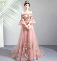 SSYFashion 2019 New Naked Pink Evening Dress Boat Neck 3/4 Sleeves Lace Embroidery Beading Floor length Long Prom Formal Gown