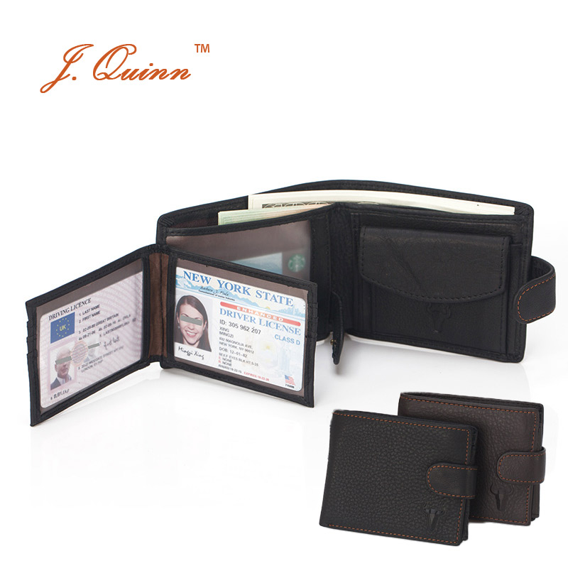 J.Quinn Bifold with Card ID Flap Mens Coin Purse Wallet Genuine Cow Leather Hasp Short Wallets for Man with Zipper Pocket Purses yj 2338ww 3w 350lm 3500k 60 led warm white light solar powered spotlight white black 3 7v