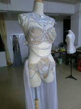 Sequins Rhinestone Bodysuit Costume Female Singer Sexy skin white DJ MC DS stage crystal bra short dress women performance set