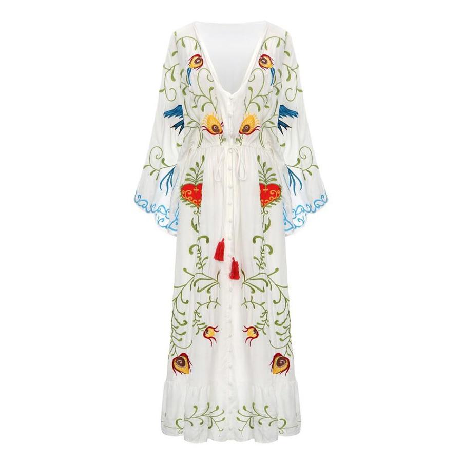 Taille Teelynn Maxi Robe Blanc V Profonde Avec rose blanc Coton Beige lavande Sexy De Robes Plage Floral Broderies noir cou Elastique Vintage Marque Femmes x4nxd6wqr