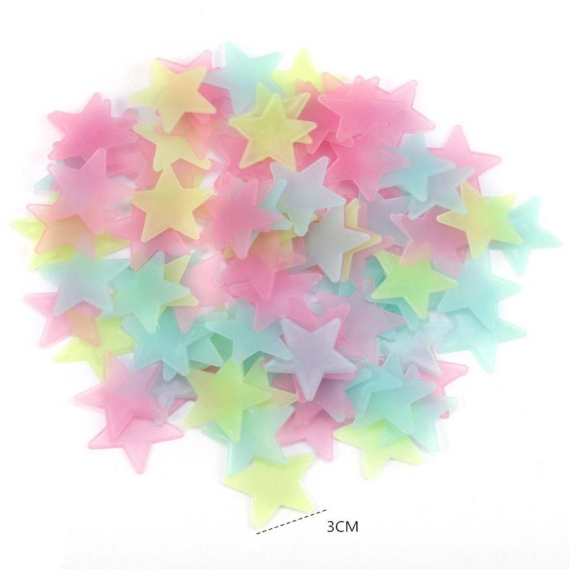 100PCS Multicolors Stars Stickers DIY 3D Fluorescent Plastic Ceiling Refrigerator Window Wall Stickers Home Decorative Picture