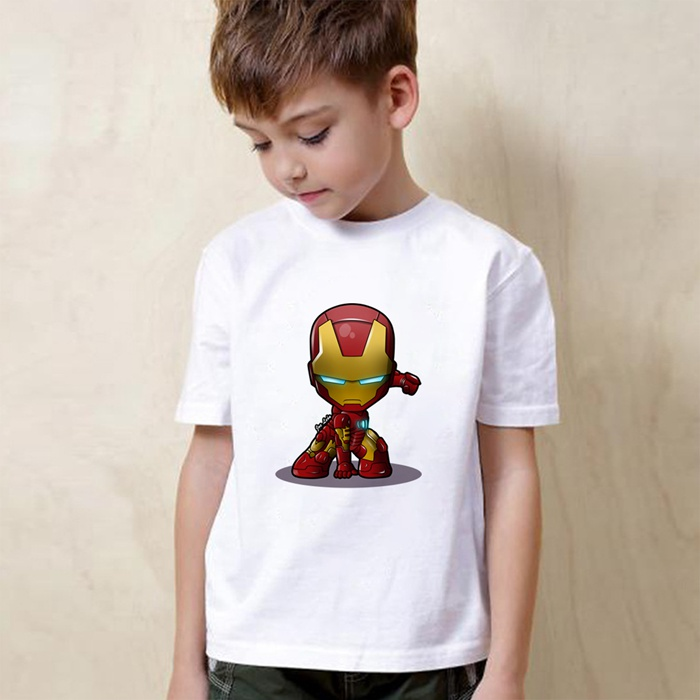Marvel 39 s The Avengers Hulk Iron Man Thor Black WidowCartoon Boy girl Summer T shirt Short Sleeved White Children 39 s Wear in Matching Family Outfits from Mother amp Kids