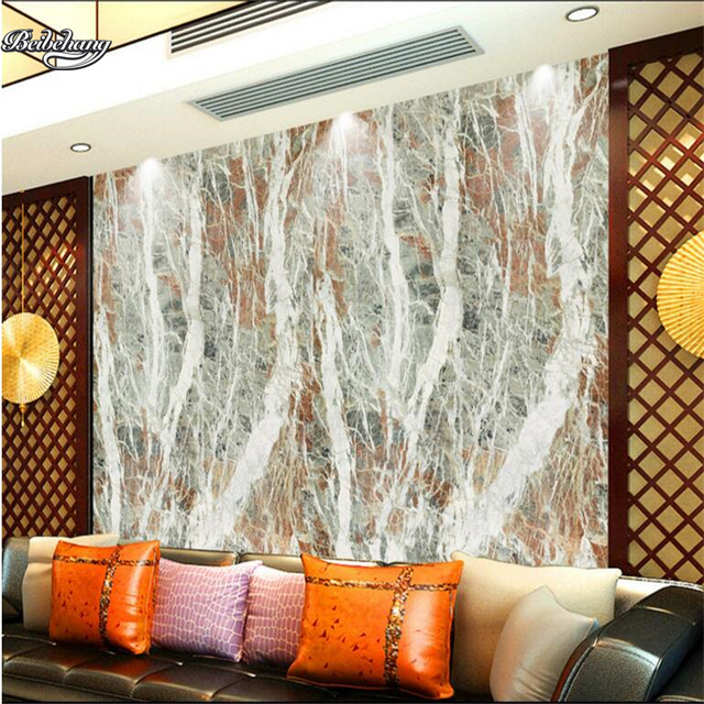 Beibehang High Definition Marble Birch Forest Murals Living Room TV  Backdrop Custom Large Fresco Non