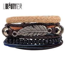 4pcs/set Retro BOHO Beads Leaf Bracelet Multilayer Leather Bracelets & Bangles Colorful Simple Jewelry For Men Women Wholesal
