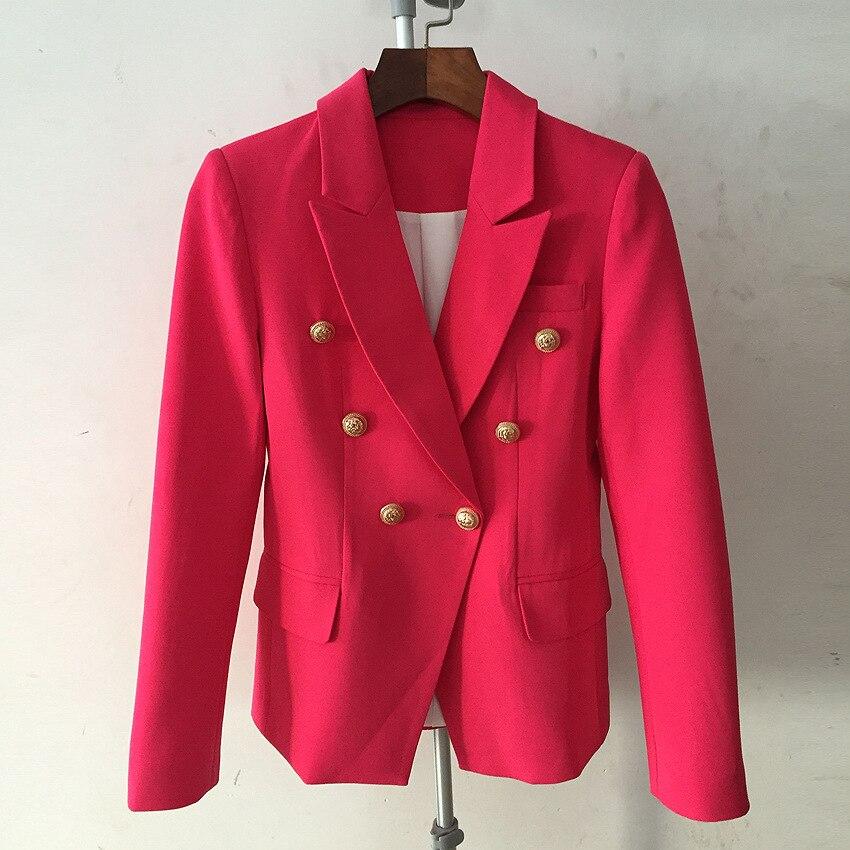 Bureau Boutonnage Red 2019 Solide À Manches Blazer Femme Nouvelle Automne Veste Rose Poche Longues Manteau Printemps Double Mode PuTOXZik