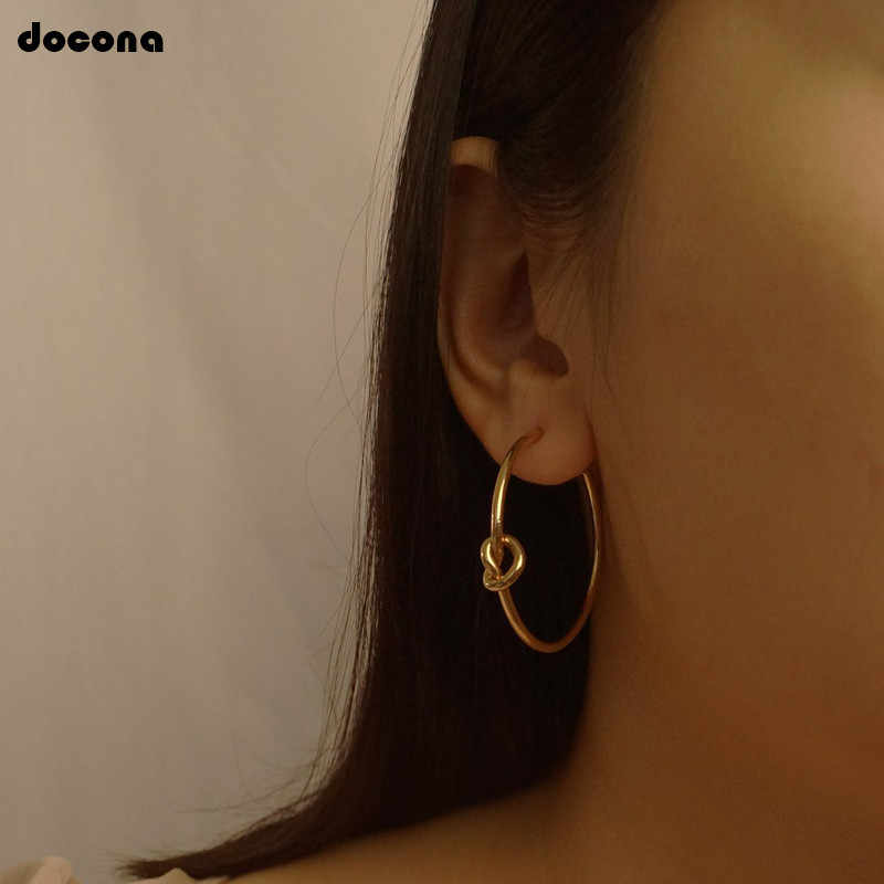 docona Punk Abstract Round Stud Earrings Punk Circle Knot Alloy Studs Statement Earring Gold Silver Earrings Brinco 5705