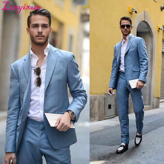 Linyixun 2018 Developed Blue Men Suits Groom Tuxedos Custom Notch Lapel Best Men Wedding Dress Men's Formal Prom Wear