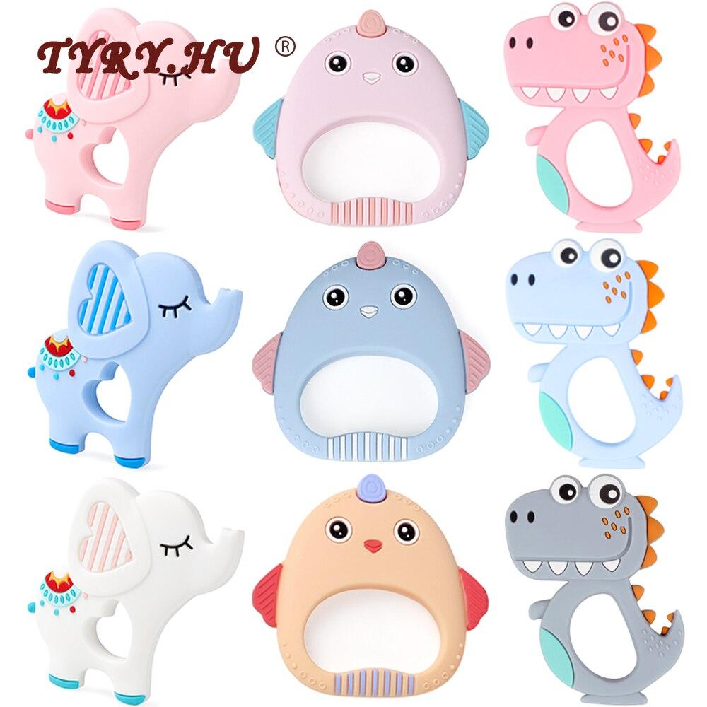 TYRY.HU 1pc Cartoon Animal Fox Elephant Dinosaur Silicone Teether Food Grade Teether Teething Beads Nursing Accessories And Gift