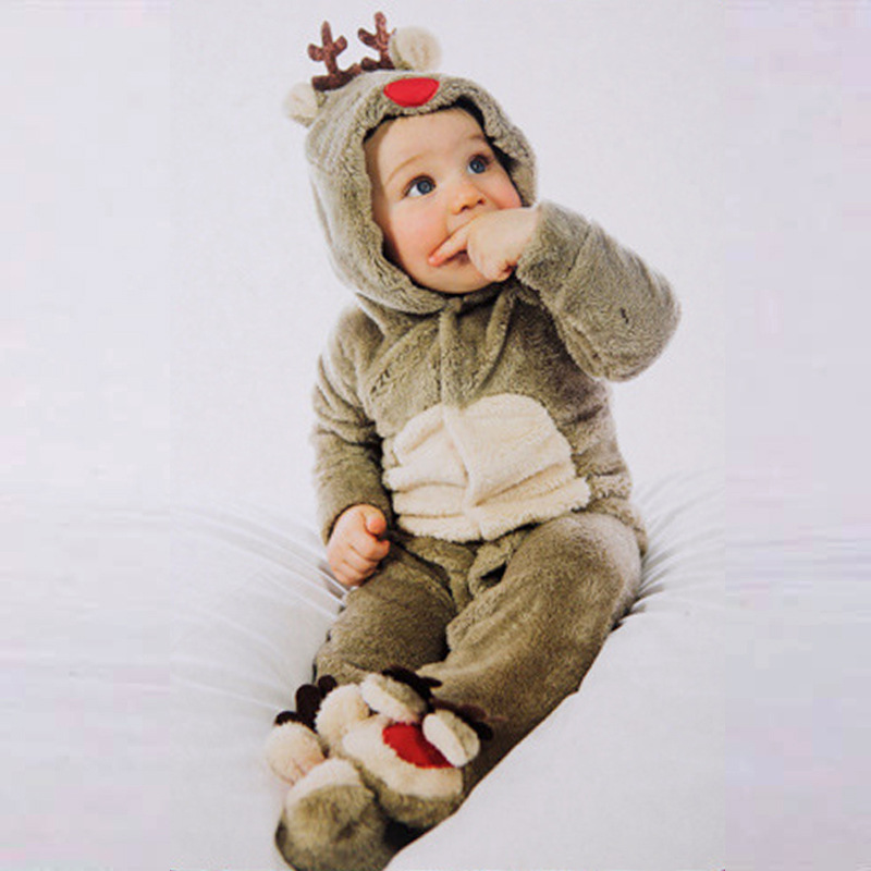 Unisex Baby Rompers Fleece Newborn Baby Clothes Long Sleeve Cartoon deer Infant Jumpsuit Toddler Kids Christmas Costume 2017 new fashion cute rompers toddlers unisex baby clothes newborn baby overalls ropa bebes pajamas kids toddler clothes sr133