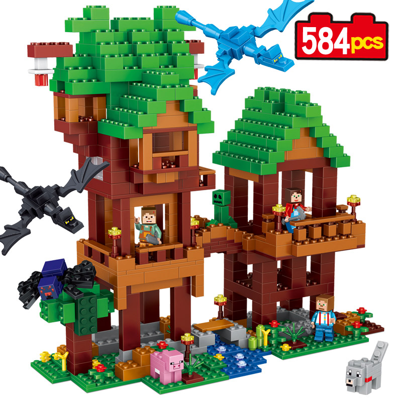 584pcs My World Jungle tree house Dragons Compatible Legoe Building Blocks Set Kids DIY Bricks toys for children Gift lepin 18003 my world series the jungle tree house model building blocks set compatible original 21125 mini toys for children