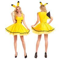 Sexy Yellow Pikachu Cartoon Costume Halloween Adult Cosplay Dress Fancy Dress SM1807