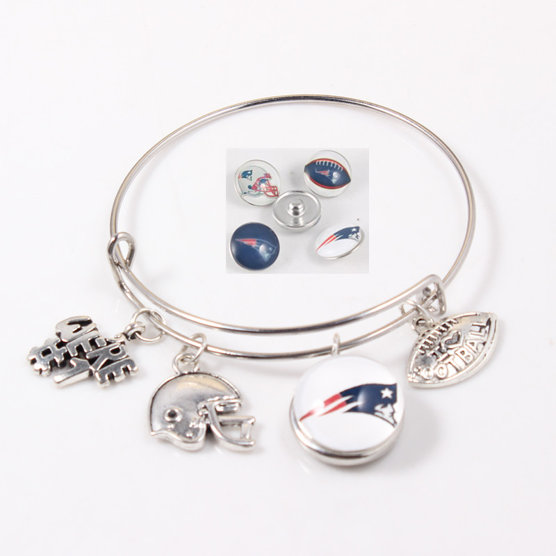 I Love Football New England Patriots Bracelets Us Team 4 Charms Adjule Bracelet Snap On Jewelry In Bangles From Accessories