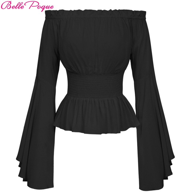 5f0f2dae815c60 Gothic Victorian Blouse Sexy Off Shoulder Blouse Lolita Long Flare Sleeve  Magical Women s Vintage Shirt Corset Blouse Tops 2018