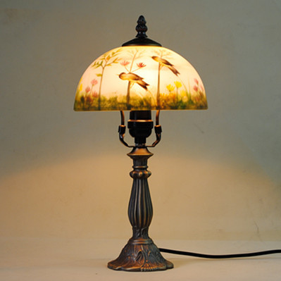 TUDA 30X45cm Free Shipping Vintage Style Metal Table Lamp Creative Hand Painting Glass Lampshade Table lamp Bedroom Study E27 tuda 30x50cm free shipping european style resin table lamp for living room bedroom table lamp remote control dimming table lamp
