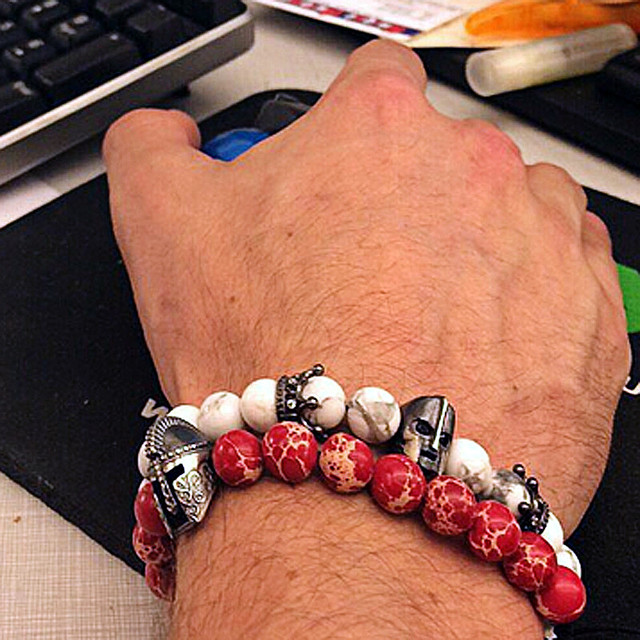 Natural Stone Strand Bracelets With Stones Love Sparta Men Jewelry White Turquoise Beads Bracelets & Bangles for Women 2016 Gift