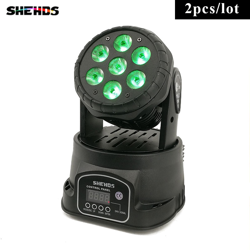 2pcs/lot Fast Shipping LED Wash 7x18W RGBWA+UV Moving Head Lighting 6in1 BGBWA+UV for Disco DJ KTV 12/16DMX Channels,SHEHDS moving head led wash stage lighting 7x18w rgbwa uv 6in1 birthday dmx512 for disco dj music party ktv nightclub lights