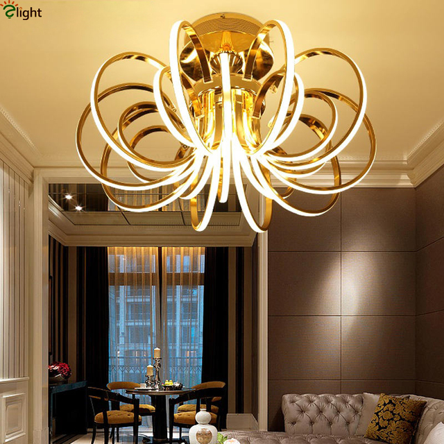 Lustre Luminaire Plated Curved Chrome Gold Metal Dimmable Led Ceiling Light By Remote Control Foyer Post