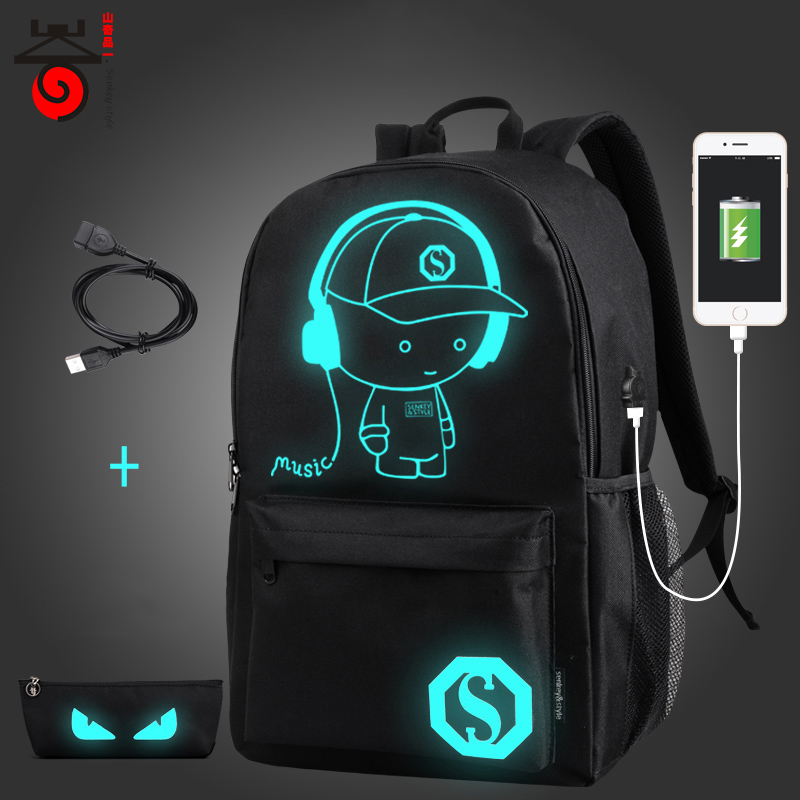 Senkey style USB Charge Men Backpacks Anime Luminous School Backpack Bag For Teenager Anti-theft Laptop Backpack Travel Mochila sopamey usb charge men anti theft travel backpack 16 inch laptop backpacks for male waterproof school backpacks bags wholesale