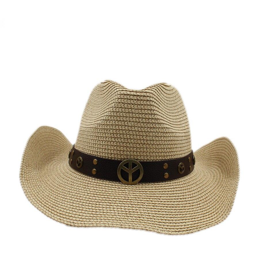 8d233e87e5e9a Classic paja toquilla mujer hombre hollow jazz caballero del sombrero de vaquero  occidental vaquera ecuestre cap papá reina sombrero de verano cap en Los ...