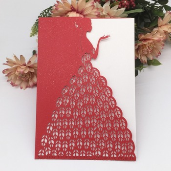 40pcs/lot Wholesale Hollow Beautiful Girl Wedding Invitation Cards Birthday Party Carnival Fancy Dress Party Grand Event Invit