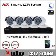 HIK 3MP CCTV Sistema NVR de Seguridad H.265 DS-7808N-K2/8 P IP y cámara Kit de soporte P2P Ezviz DS-2CD2035-I fácil de vista remota instalar