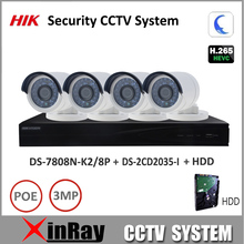 HIK 3MP H.265 Security CCTV System NVR DS-7808N-K2/8P & IP camera DS-2CD2035-I Kit support P2P Ezviz remote view Easy to install