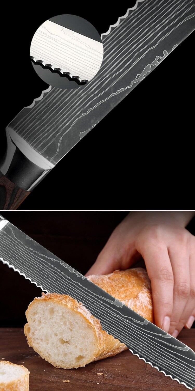 Xituo 주방 나이프 세트 요리사 나이프 스테인레스 스틸 블레이드 샤프 새로운 산토 쿠 클리버 슬라이싱 유틸리티 파링 나이프 요리 도구-에서칼 세트부터 홈 & 가든 의  그룹 3