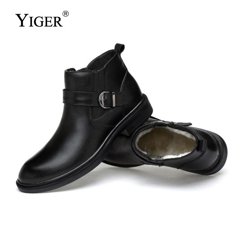YIGER ใหม่ Man บู๊ทส์รถจักรยานยนต์ฤดูหนาวหนังแท้ที่มีข้อเท้ารองเท้า Man Martins รองเท้าบูทรอบ Toe รองเท้าสีดำ 0146-ใน รองเท้าบู๊ทมอเตอร์ไซค์ จาก รองเท้า บน   2