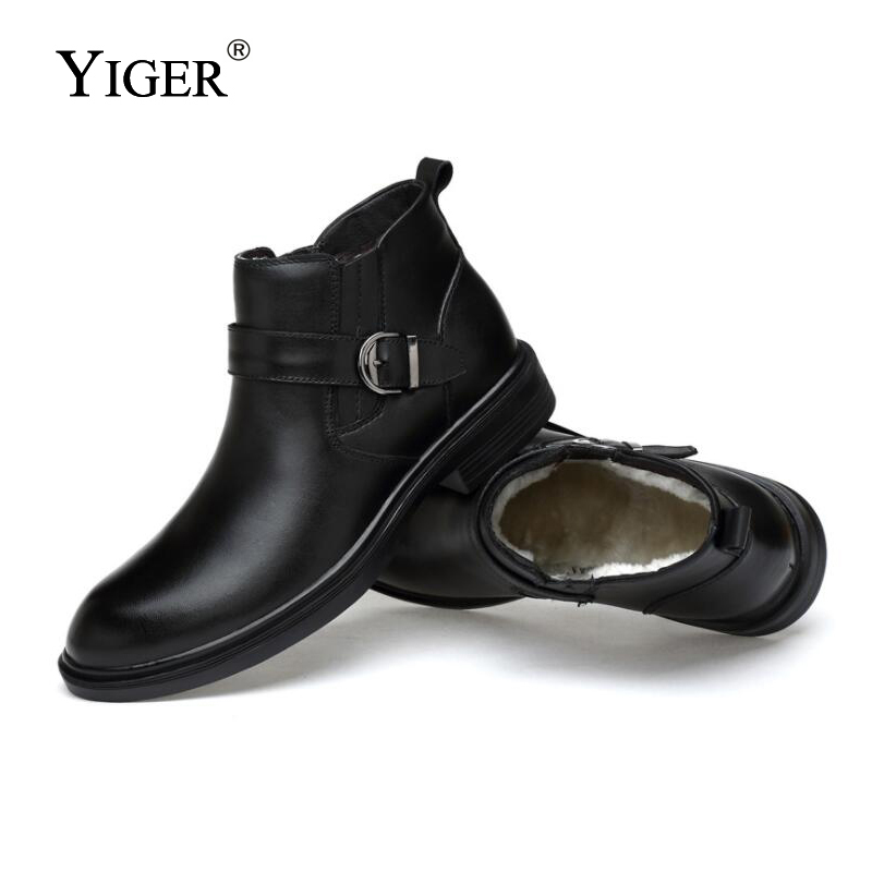 YIGER NEW Man Motorcycle Boots winter Genuine Leather With fur Men Ankle Boots Man Martins Boots Round Toe Black shoes 0146 in Motorcycle boots from Shoes