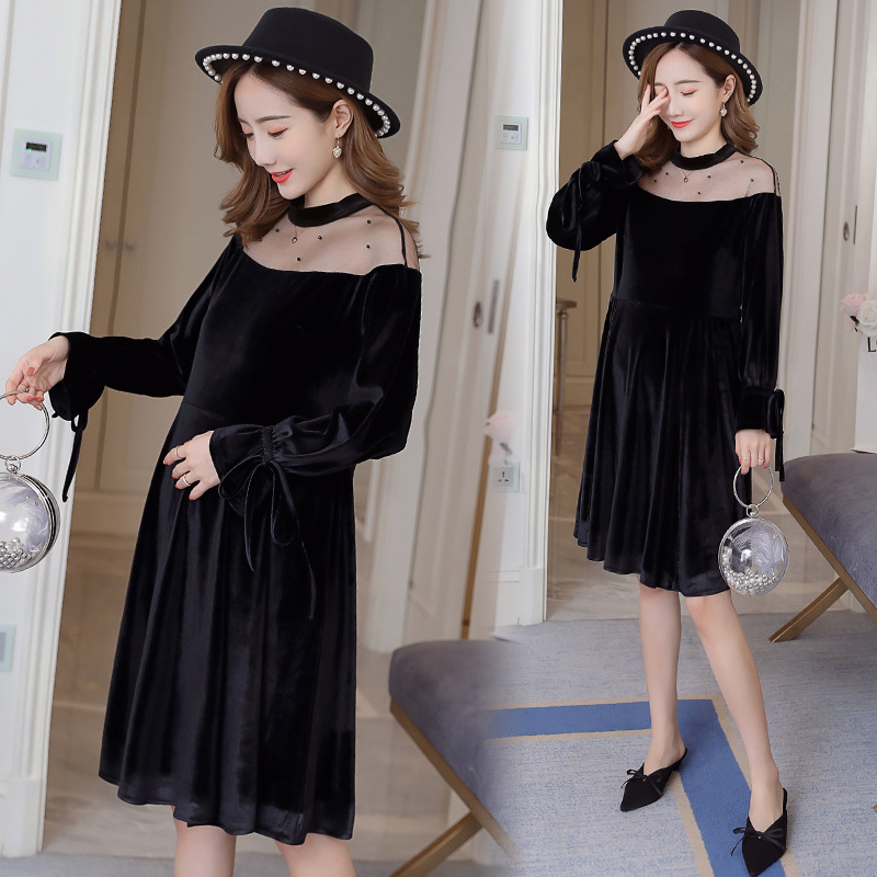 2019 Pregnant Womens Dress In The Spring Of Autumn Winter Maternity Dress Gold Velvet Stitching Loose Large Size Maternity Dress