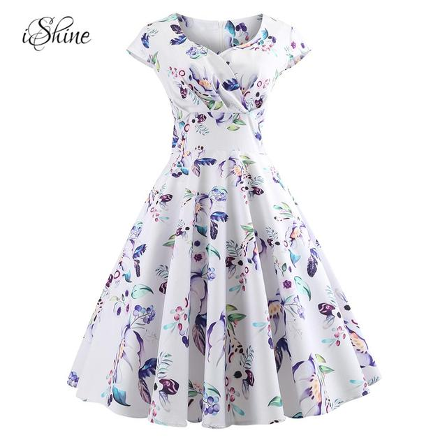 ffd6814a0ca9bb Women Elegant Floral Butterfly Printed Pleated Retro Vintage Dress Square  Neck Pin-up Rockabilly Midi