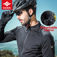 Santic Mens Cycling Jackets Keep Warm Cycling Windproof Jacket Coat Removable Sleeves Black Autumn Winter Asian S 3XL M7C01086