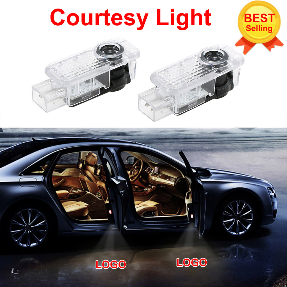2x For AUDI Car Door LED CIRCLE Ghost Shadow Light Audi Logo Projector Courtesy Lights Auto Backlight Car Styling Welcome Lamp renault logo pattern 2w 100lm 6000k 3 led yellow white car courtesy door decoration lights pair