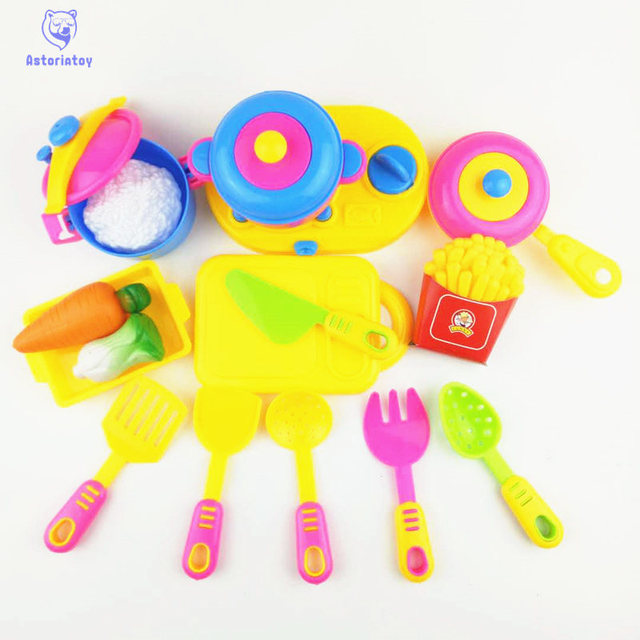 17pcs/1lot Kitchen Utensils Toys Educational Kids Toy Plastic Kitchen Play  Set Artificial Tableware Cooking