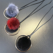 2017 Faux Fluffy Pompom Feather Fur Ball Long Necklace Bohe Black Grey Red Pendant Winter Sweater Necklace&Pendants Cute Gift