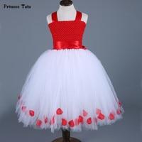 Girls Christmas Party Dress Kids Clothes Red White Tulle Princess Girls Dress Flower Petals Xmas Tutu