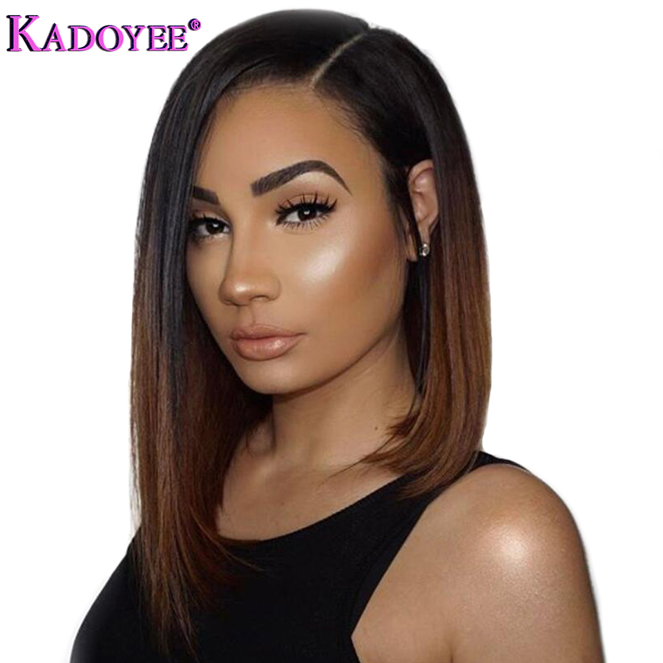 Short Bob Lace Front Wigs Brazilian Remy Hair Side Part Straight Pre Plucked Bleached Knots Human