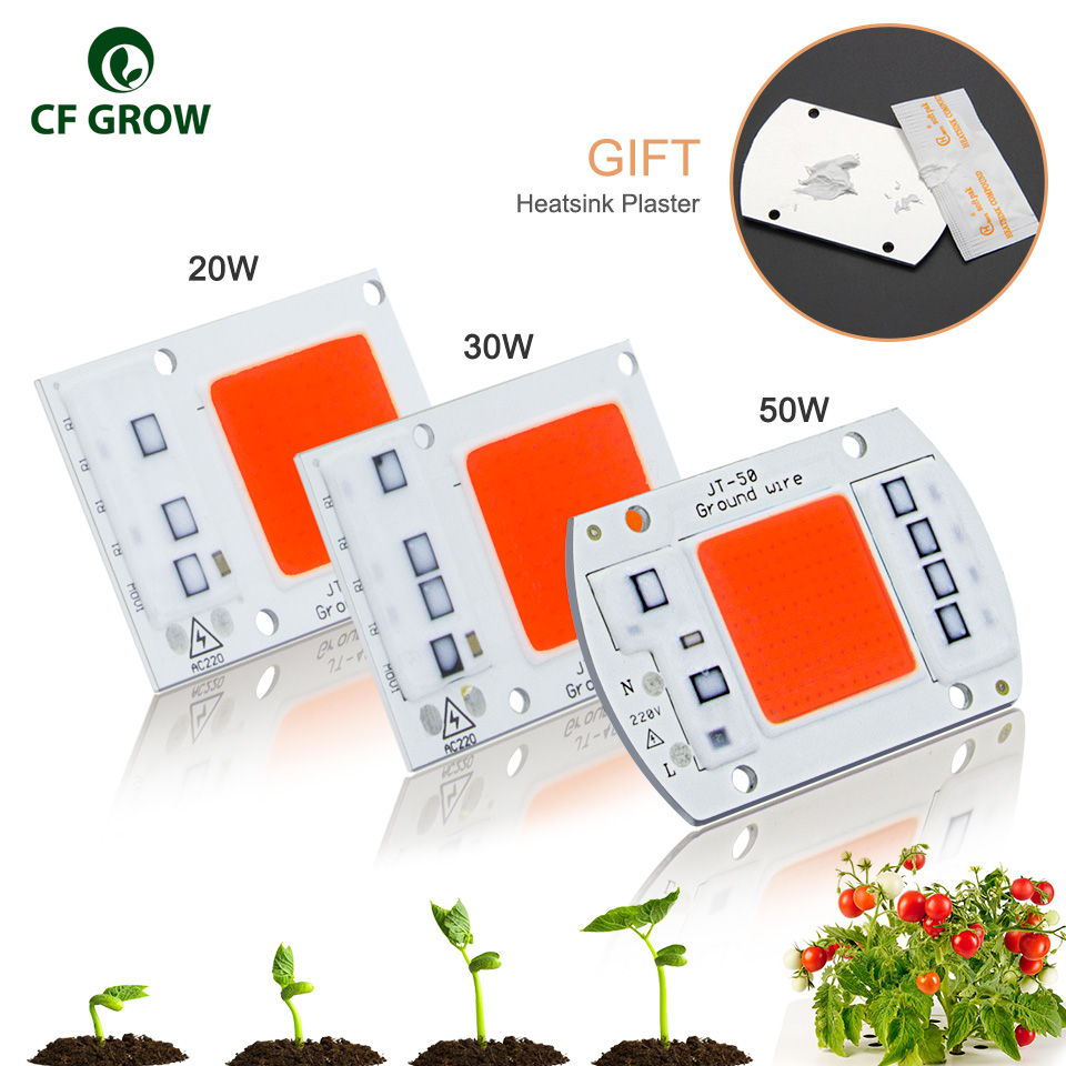 DIY AC COB LED Grow Light Chip 220V Real Full Spectrum 380~780nm Actrual Power 20W 30W 50W Replace Sunlight for Indoor Plants t8 28w 90cm ac vegetable grow light tube 1pc retail for organic farming indoor full spectrum 380 780nm