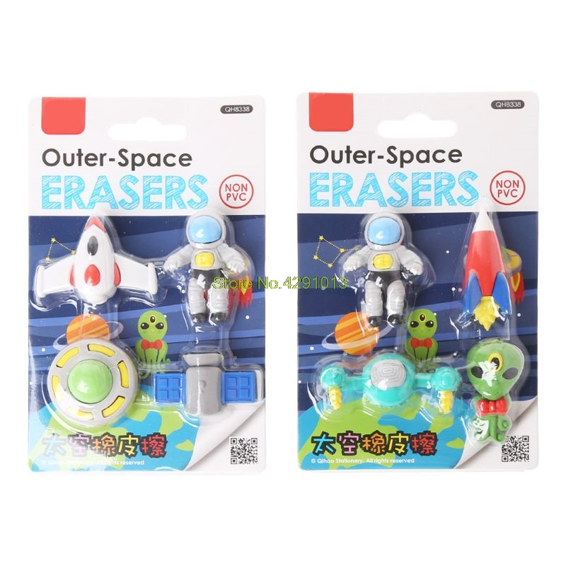 4pcs/set Creative Flying Saucer Alien Spaceship Shaped Rubber Pencil Eraser Kids Drop Shipping Support