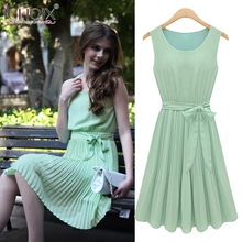 ICHOIX 2019 Summer Women Elegant Dress Casual Green Beach Wrap Dresses