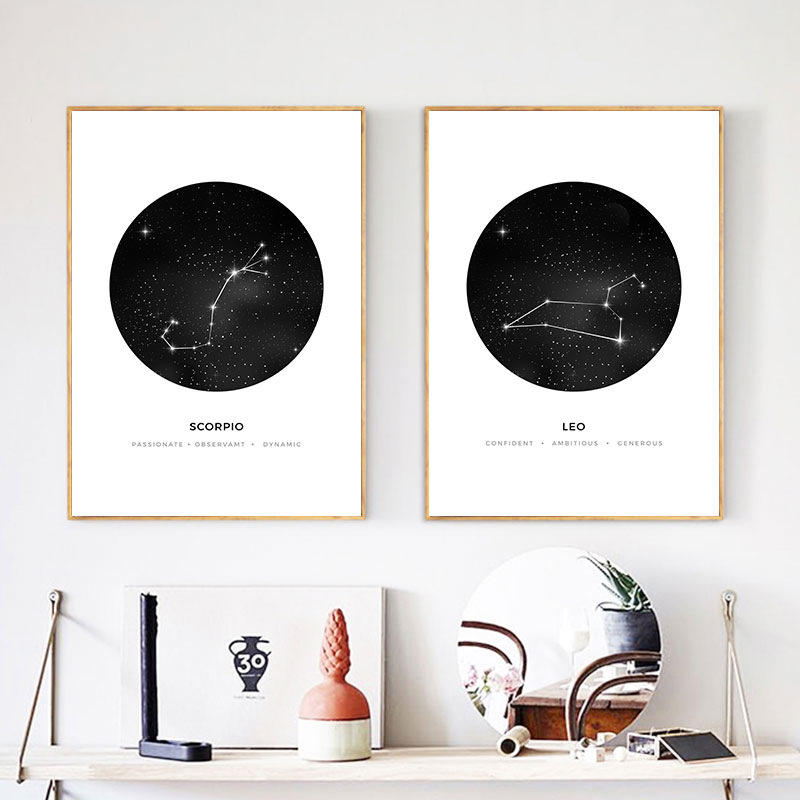 Canvas Painting Astrological Constellation-Pattern Home-Decorative White Waterproof Murals