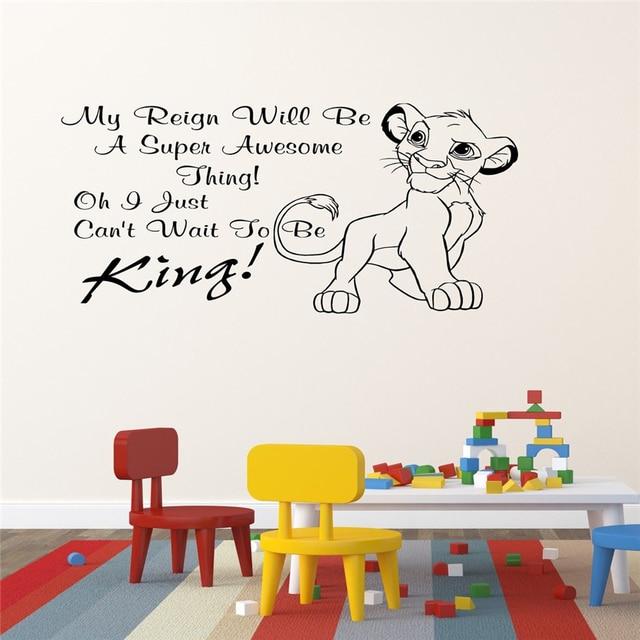 2018 new Lion King Simba Childrens Bedroom Wall Sticker Wall Art ...