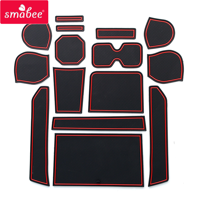 Smabee  Gate Slot Pad Car Mat Anti Slip For SUZUKI IGNIS Interior Door Pad/Cup 15CPS RED BLACK