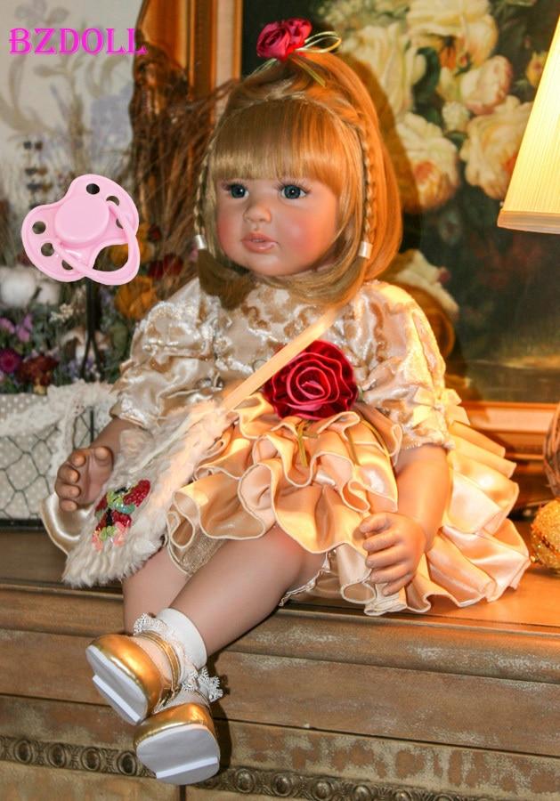 60 centímetros Silicone Renascer Baby Doll Brinquedos Para As Crianças Meninas Bonecas 24 polegada Princesa Bebês Vinil Aniversário Da Criança Bebe Vivo presente