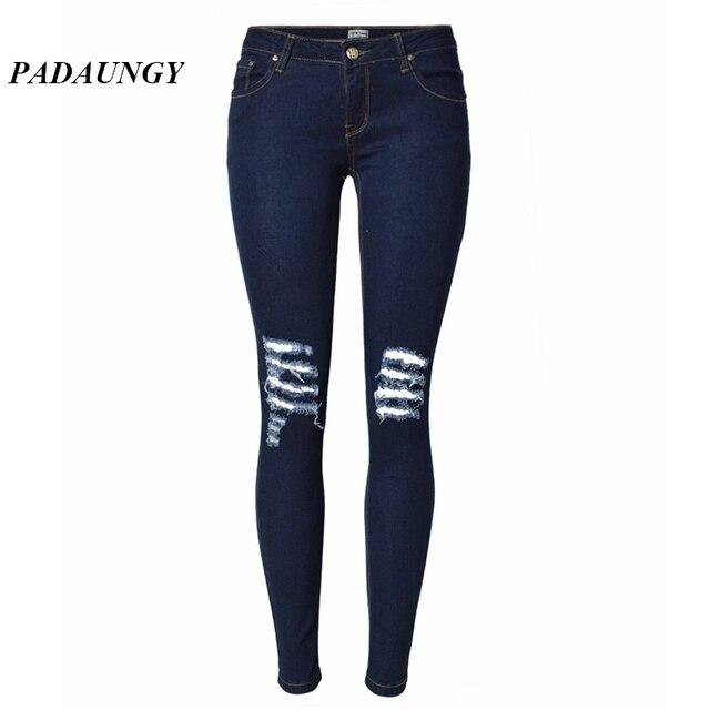 9c2a61dc2de57 PADAUNGY Low Waist Ripped Jeans Plus Size Torn Jean Slim Fit Plus Size  Jeggings Skinny Holes Denim Pencil Pants Women Trousers