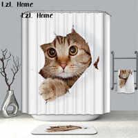 LzL Home 3D Cortina De Ducha De gato adorable, Cortina De baño De Animal creativa respetuosa con el medio ambiente, Cortina De Ducha impermeable, decoración Banheiro