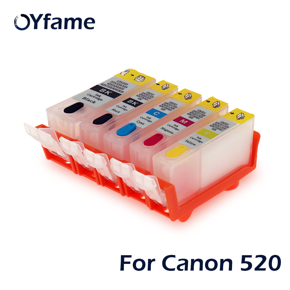 OYfame 5 colors PGI-520 CLI-521 Refillable <font><b>ink</b></font> <font><b>cartridges</b></font> for <font><b>Canon</b></font> PiXMA iP3600MP540 MP620 <font><b>MP630</b></font> MP980 <font><b>Cartridge</b></font> With chips image