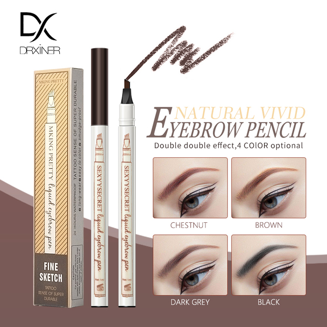 Waterproof Natural Eyebrow Pencil Four Fork Eye Brow Tint Makeup Four Colors Eyebrow Pencil Brown Black Grey Brush Cosmetics 4